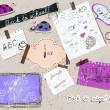 Scrapbooking set with school elements. — Stockvectorbeeld