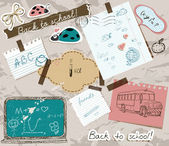 Scrapbooking set with school elements. — ストックベクタ