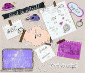 Scrapbooking set with school elements. — Stockvector