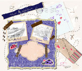 Scrapbooking set with stamps and photo frames. — ストックベクタ
