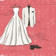 Vector de stock : Vintage poster with with wedding dress.