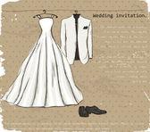 Vintage plakát s s svatební šaty. — Stock vektor