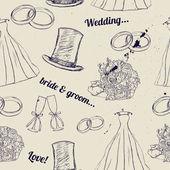 Vintage bruiloft naadloze textuur. — Stockvector