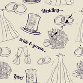 Vintage wedding seamless texture. — Vector de stock