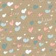 Vintage seamless texture with hearts. — ベクター素材ストック