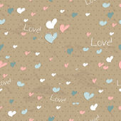 Vintage seamless texture with hearts. — Stock Vector
