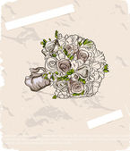 Wedding bouquet. Hand drawn illustration — Stock Vector