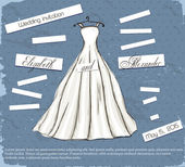 Vintage poster with beautiful wedding dress. — Stock Vector