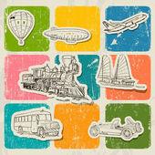 Poster vettoriale vintage con diversi veicoli. — Vettoriale Stock
