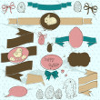 Set of vintage deign elements about Easter. — Stock Vector