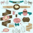 Set of vintage deign elements about Easter. — Imagen vectorial