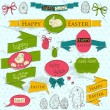 Set of vintage deign elements about Easter. — Stockvectorbeeld