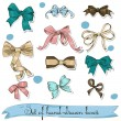 Set of vintage bows. — Stockvectorbeeld