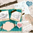 Vector de stock : Scrapbooking set with stamps and photo frames.