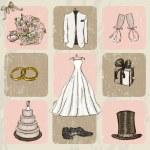Vintage wedding poster. — Stock Vector