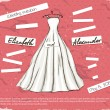 Vintage poster with beautiful wedding dress. - Imagens vectoriais em stock