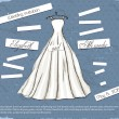 Vintage poster with beautiful wedding dress. — Stock vektor