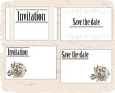 Vintage invitation cards set. — Stock Vector