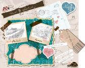 Scrapbooking που με γραμματόσημα και κορνίζες. — Διανυσματικό Αρχείο