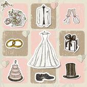 винтаж свадебные плакат. — Cтоковый вектор