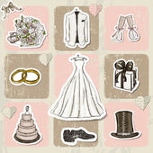 Ročník svatebních plakát. — Stock vektor