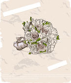 Ramo de la boda. ilustración dibujado a mano — Vector de stock