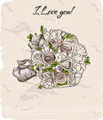 Wedding bouquet. hand getekende illustratie — Stockvector