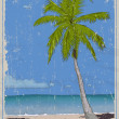 Retro poster with sea paradise. — Stockvectorbeeld