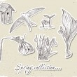 Vintage set of spring elements. — Stock Vector