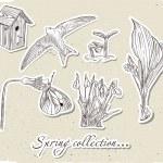 Vintage set of spring elements. — Stock Vector