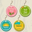 Set of 4 retro summer tags. — Vettoriali Stock