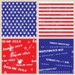 Set of seamless textures with USA Independence Day — Stok Vektör