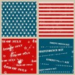 Stock Vector: Set of seamless textures with USA Independence Day