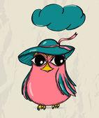 Poster mit lustigen vogel. — Stockvektor