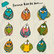 Set of 9 funny cartoon birds. — Stockvectorbeeld