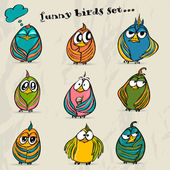 Set of 9 funny cartoon birds. — Stock Vector