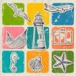 Vintage set of sea travel icons. — Stockvectorbeeld