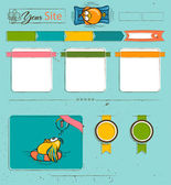 Website template with cartoon birds. — Stock Vector