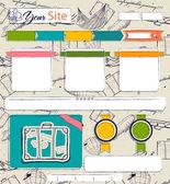 Modello di sito web con elementi vintage. — Vettoriale Stock