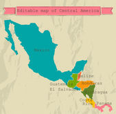 Editable Central America map with all countries. — 图库矢量图片
