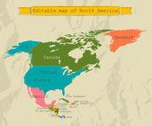 Bewerkbare zuid-amerika-kaart met alle landen. — Stockvector