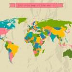 Mapa upravitelné světa se všemi zeměmi — Stock vektor