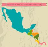 Upravitelné mapa střední ameriky se všemi zeměmi. — Stock vektor