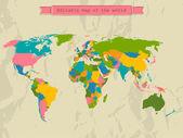Bütün ülkeler ile düzenlenebilir dünya haritası. — Stok Vektör