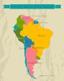 Upravitelné mapa jižní ameriky se všemi zeměmi. — Stock vektor