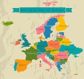 Bewerkbare kaart van europa met alle landen. — Stockvector