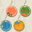 Set of 4 retro autumn tags. — Stock Vector #29001111