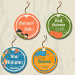 Set of 4 retro autumn tags. — Stockvektor
