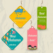 Set of 4 retro autumn tags. — Stock Vector #29002955