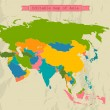 Editable Asia map with all countries. — Stok Vektör